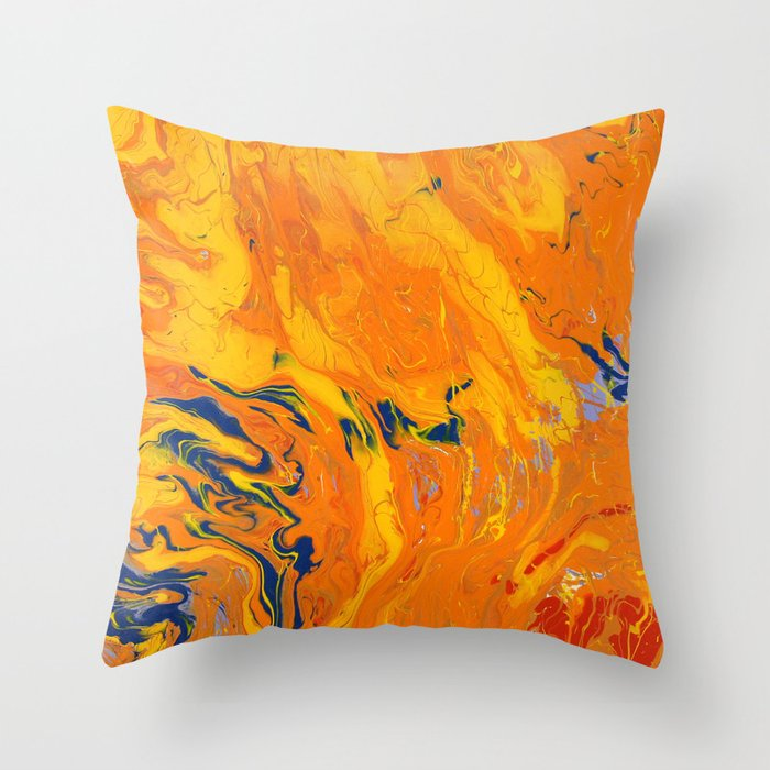 Orange Marble Throw Pillow