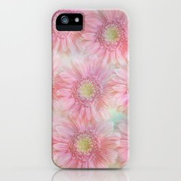 Pink daisies on a pastel background. iPhone Case