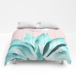 Stellar Agave and Full Moon - pastel aqua and pink Comforters