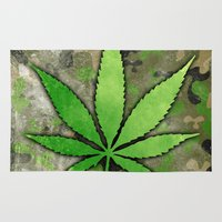 weed Area & Throw Rugs featuring Weed Leaf by Spooky Dooky