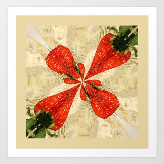 Strawberries square Art Print