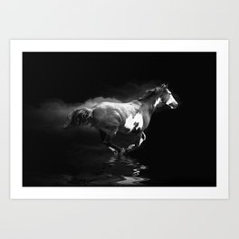 Galloping Pinto Horse Art Print