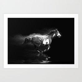 Galloping Pinto Horse Art Print