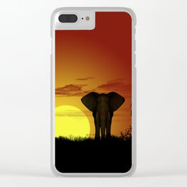 Sunset and elefant Clear iPhone Case