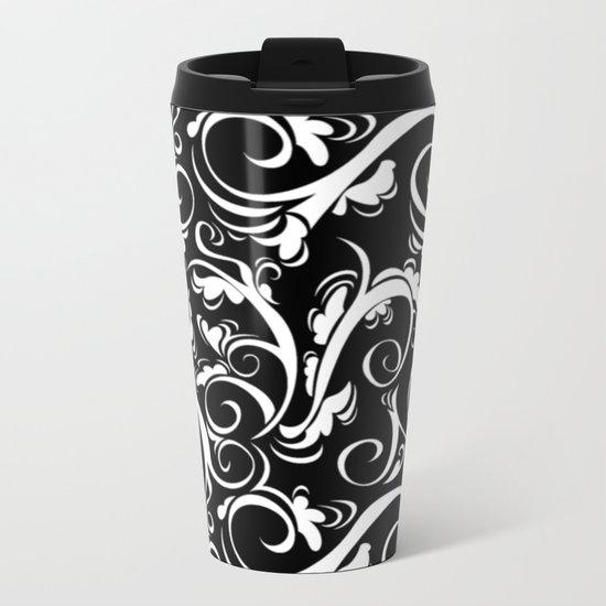 Black White Flora Metal Travel Mug