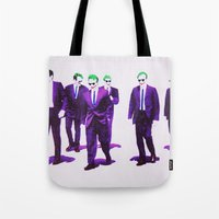 dc comics Tote Bags featuring JOKER DOGS reservoir dogs batman dark knight rises dc comics by Radiopeach