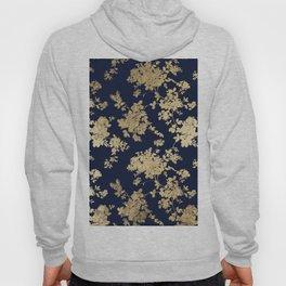 Elegant vintage navy blue faux gold flowers Hoody