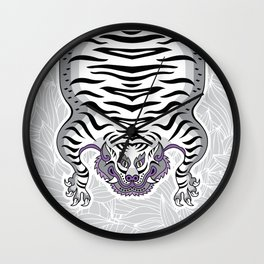 TIBETAN TIGER - WHITE (white) Wall Clock