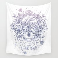 sleeping beauty Wall Tapestries featuring Sleeping Beauty by DiMary