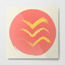 Coral and Gold Bird Stamp on Tan Metal Print