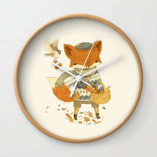 Fritz the Fruit-Foraging Fox Wall Clock