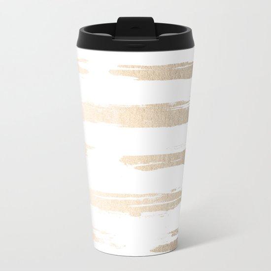 Simply Brushed Stripe White Gold Sands on White Metal Travel Mug