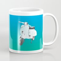 vespa Mugs featuring Vespa by Frivolous Designs