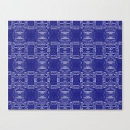 Mirror Pattern Tribal Style 2.0 -  Dark Blue, Blue & Light Blue Canvas Print