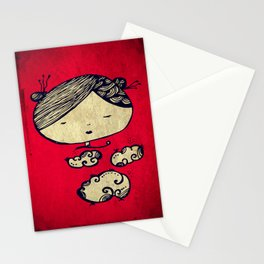 Vintage Girl In Cloud Stationery Cards