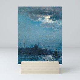 View of Istanbul in the moonlight; the Blue Mosque maritime nautical painting Vartan Makhokhian Mini Art Print