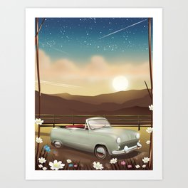 Vintage Car in the sunset Art Print