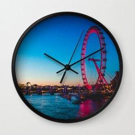 London Eye at Night | Europe UK City Urban Nightscape Sunset Photography Wall Clock