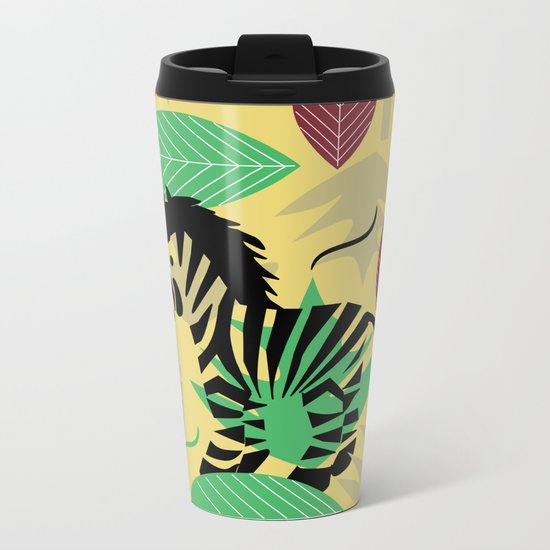 Zebra with leaves and dots Metal Travel Mug