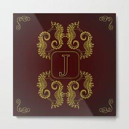 Monogram J seahorse Metal Print