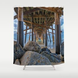 The Rocks Under Newport Pier Shower Curtain