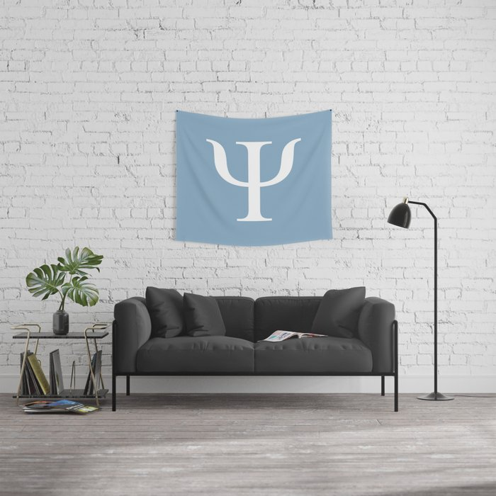 Greek letter Psi sign on placid blue background Wall Tapestry