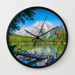 Grand Teton National Park Lake Mountains Nature Hike Landscape Print Wall Clock