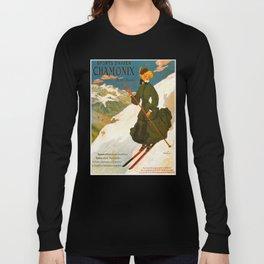 Vintage Chamonix Mont Blanc France Travel Long Sleeve T-shirt