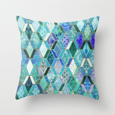 Sapphire & Emerald Diamond Patchwork Pattern Throw Pillow