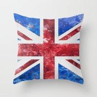 union jack Throw Pillows featuring Union Jack by LebensART
