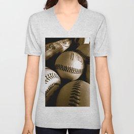 Baseball Days in B&W Unisex V-Neck