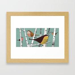Suspicious little birds Framed Art Print