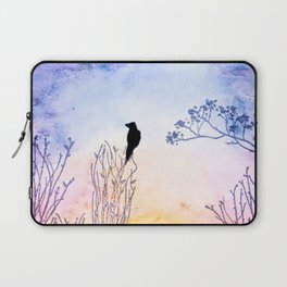 Watercolor Painting of a Bird on  Branch Laptop Sleeve