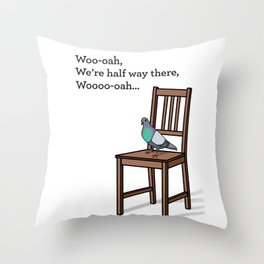 Pigeon on a Chair Throw Pillow
