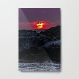 Sunrise on Nubble rocks - Nubble Lighthouse, York, Maine Metal Print