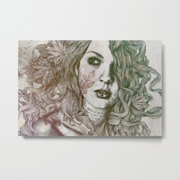 Wake: Autumn (street art woman with maple leaves tattoo) Metal Print