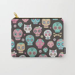 Sugar Skulls On Black Carry-All Pouch