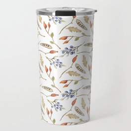 Fall watercolor blue coral orange brown leaves berries Travel Mug