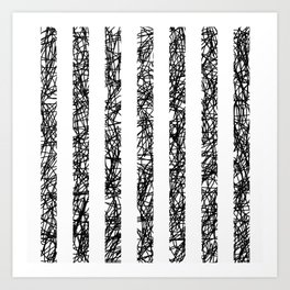 Scribble Bars - Abstract, stripy, stripey, black ink scribbles pattern, black and white Art Print