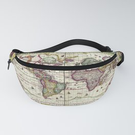 Ancient Pictorial Map Claes Janszoon 1652 Fanny Pack