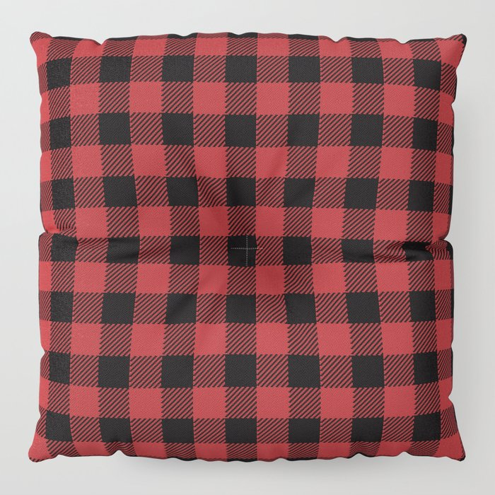 90\'s Buffalo Check Plaid in Red and Black Floor Pillow by ...