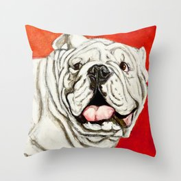 Uga the Bulldog Painting - Red Background Throw Pillow
