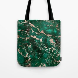 Modern rose gold marble green emerald watercolor pattern Tote Bag