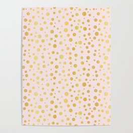Luxe Rose Gold Polka Dots Pattern Seamless Vector, Drawn Metallic Poster