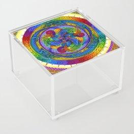 Psychedelic Dragons Rainbow Spirals Mandala Acrylic Box