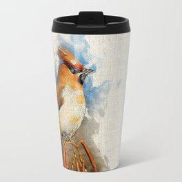 Watercolor Bird - Bohemian waxwing(Bombycilla garrulus) Travel Mug
