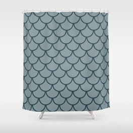 Blue & Dark Blue Fish Scales Pattern Shower Curtain
