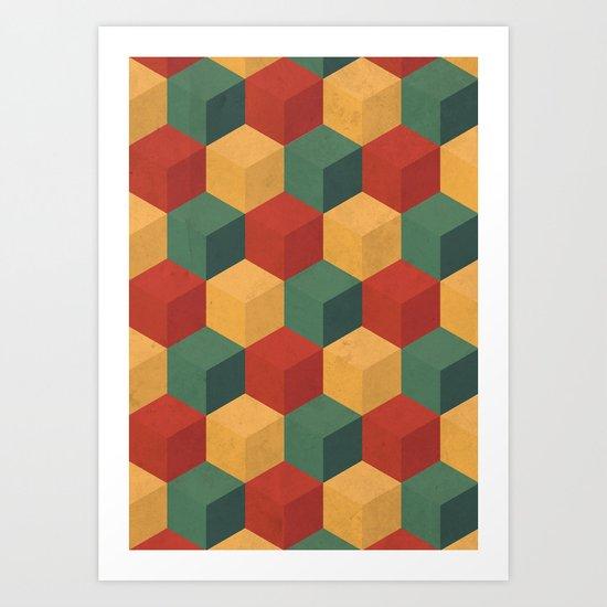 Retro Cubic Art Print