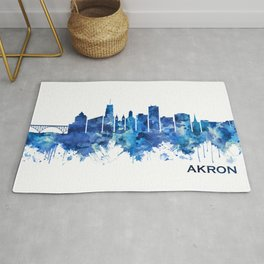 Akron Ohio Skyline Blue Rug