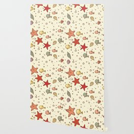 Cute Vintage Style Sea life Seamless Pattern Wallpaper